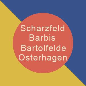 Logo mit Dorfnamen und Farben der Welfen
